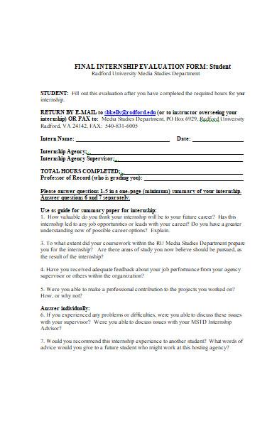 mid term internship evaluation form