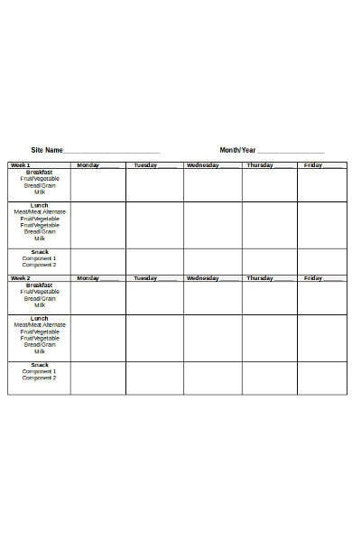 month menu form