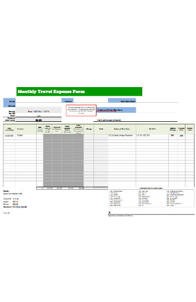 monthly travel expense form