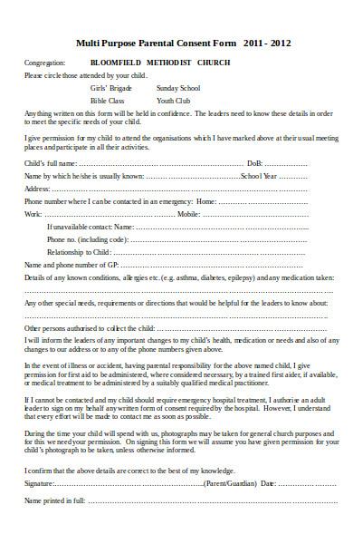 multi purpose parental consent form