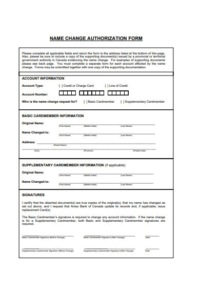 name change authorization form