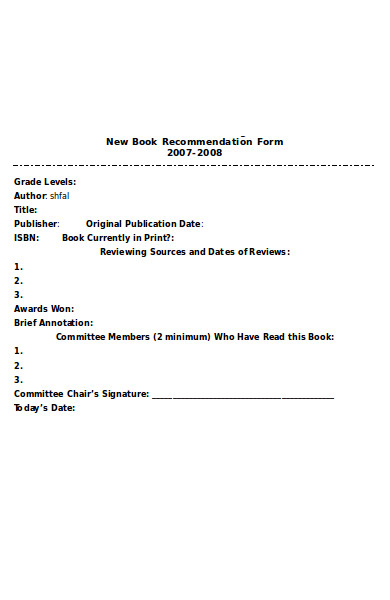 new book recommendation form