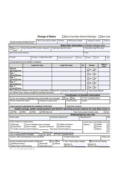 new change of status form