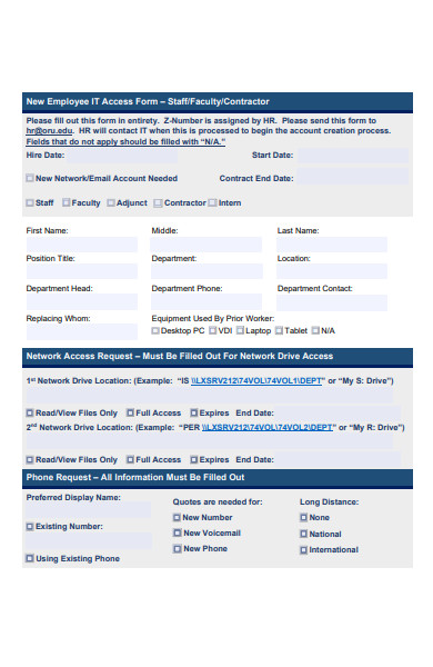 new employee access form