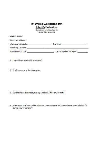 new internship evaluation form