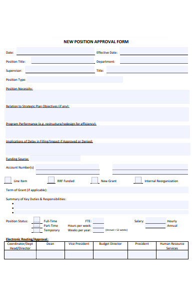 new position approval form