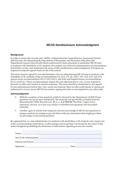 non disclosure acknowledgment form