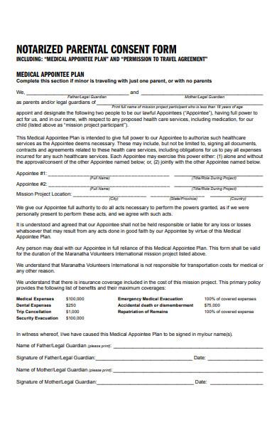 notarized parental consent form