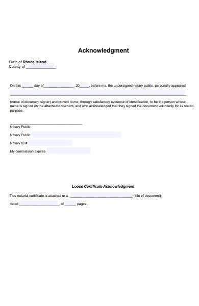 notary acknowledgment form