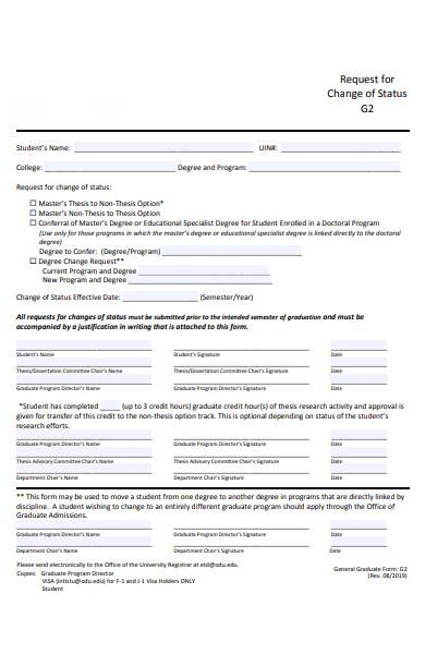 notice change of status form