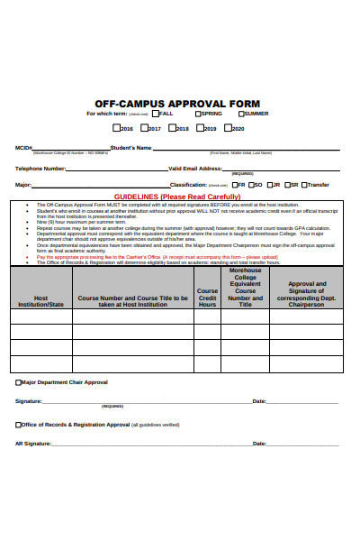 off campus approval form