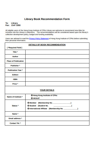 online book recommendation form