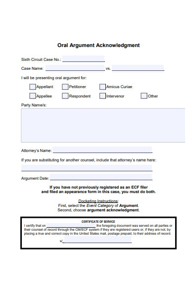 oral argument acknowledgment form