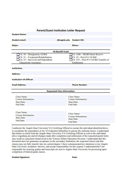 parent letter request form
