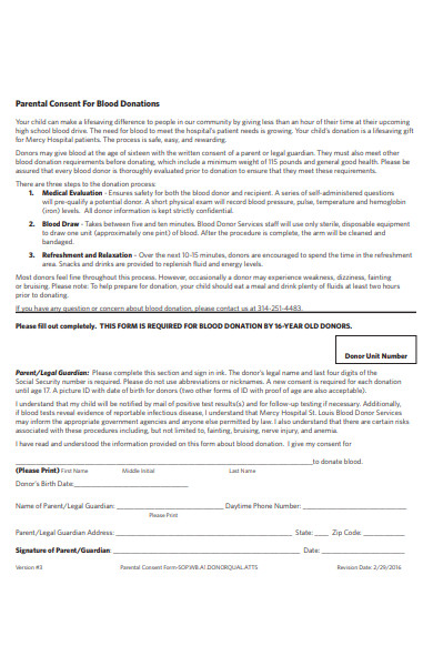 parental consent form for blood donations