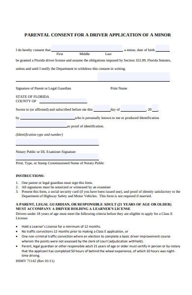 parental consent form for driver