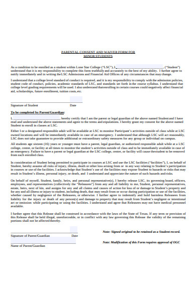 parental consent form for minor students