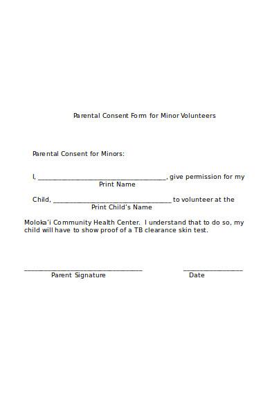 parental consent form for minor volunteers