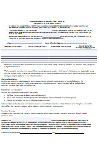 parental consent form for student school trip