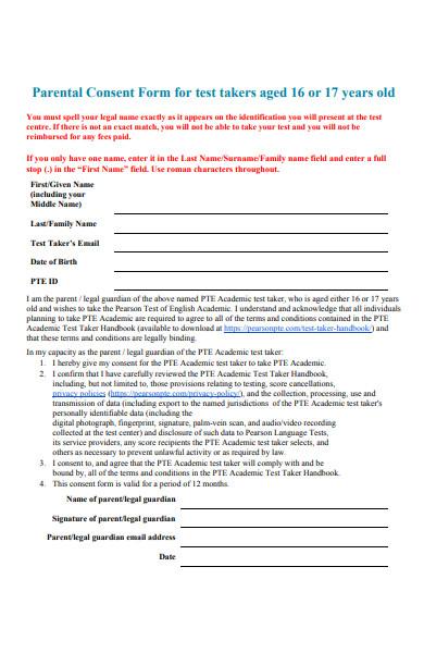 parental consent form for test taskers