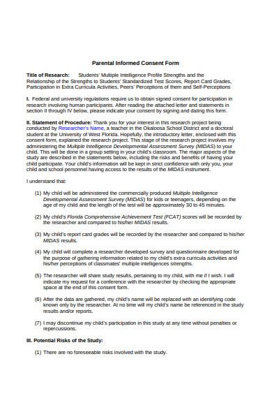 parental informed consent form