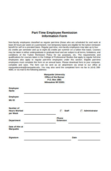 part time employee form