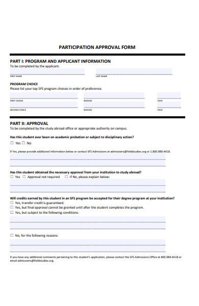 participation approval form
