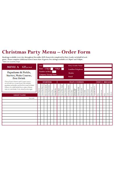 party menu order form