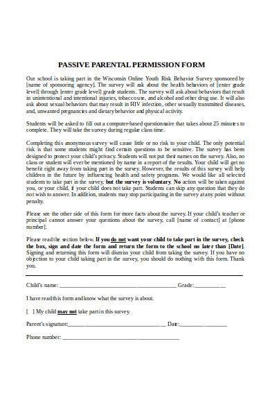 passive parental consent form