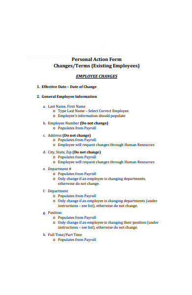 personal action form