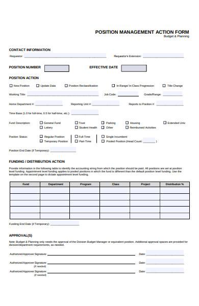 position management action form