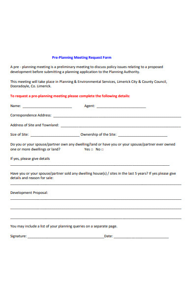 pre planning meeting request form