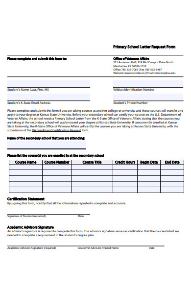 primary school letter request form