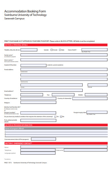 printable booking form