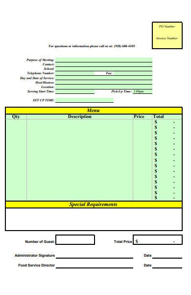 printable menu form