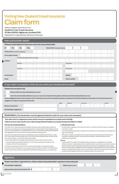 printable travel claim form