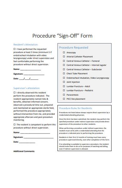 procedure sign off form