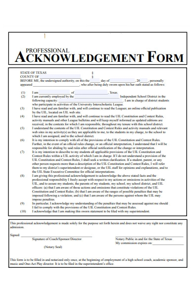 professional acknowledgment form