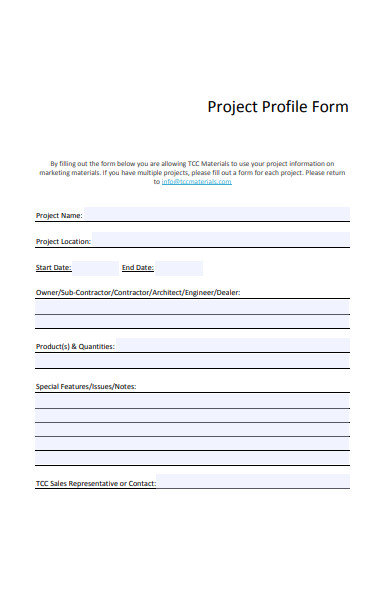 project profile form