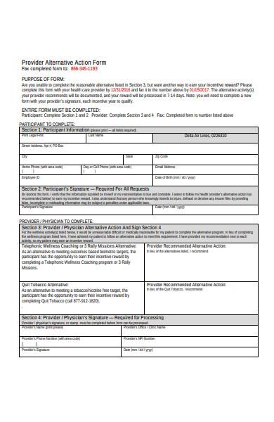 provider alternative action form