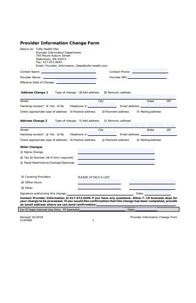 provider information form