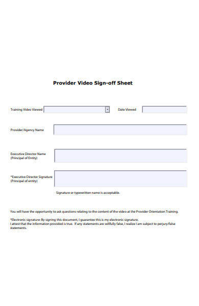 provider video sign off form