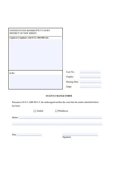 public change of status form