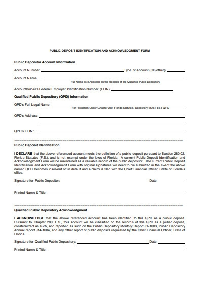 public deposit acknowledgment form