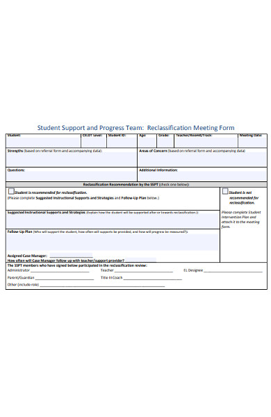 reclassification meeting form