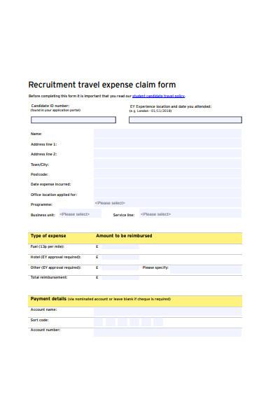 recruitment travel expense form