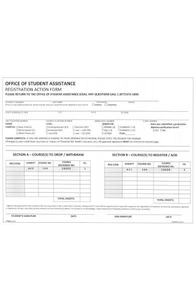 registration action form