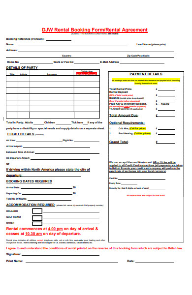 rental booking form