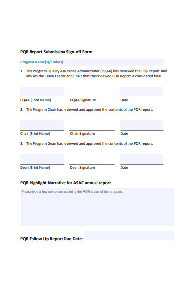 report submission sign off form