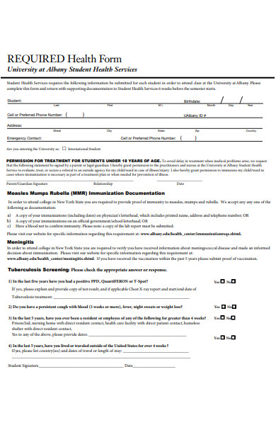required health form